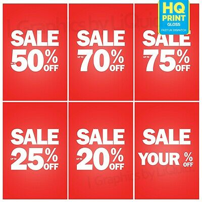 'SALE UP TO % OFF' SHOP POSTER PACK - Summer SALE POSTER  20%, 50%, 70%, 75%