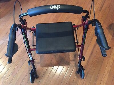 New Drive Medical Rollator Walker w/ Fold Up Removable Back Support Padded Seat