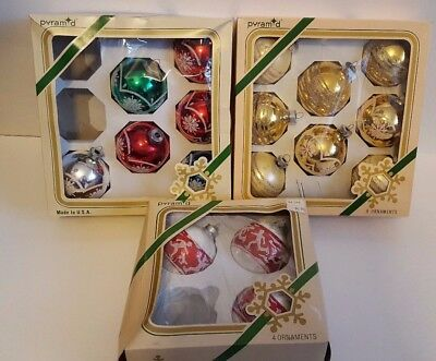 17 Vintage Pyramid Christmas Glass Ornament Balls Ice Skater Glitter W/Boxes