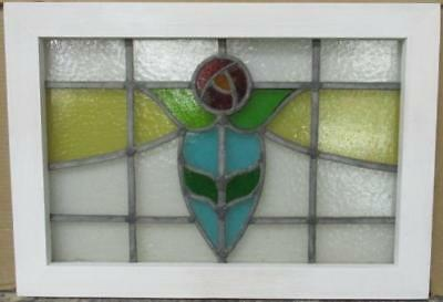 """MID SIZED OLD ENGLISH LEADED STAINED GLASS WINDOW Gorgeous Floral 23.5"""" x 16.5"""""""