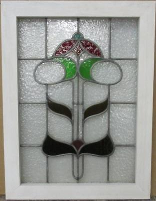 "MID SIZED OLD ENGLISH LEADED STAINED GLASS WINDOW Abstract Floral 18.25"" x 24.25"
