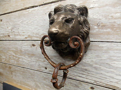 Antique cast bronze lion head door knocker brass ring