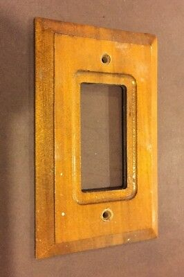 VINTAGE BROWN WOODEN Duplex OUTLET Wall Cover Plate Stair Stepped Sides Amer-Tac