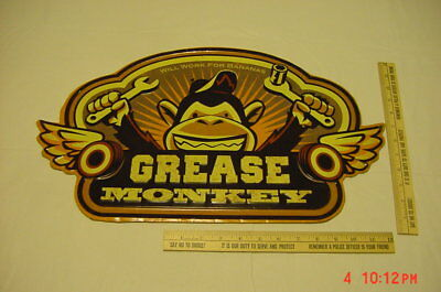 Grease Monkey Sign Embossed Metal Advertising Retro Garage Ford Dodge Chevy NICE