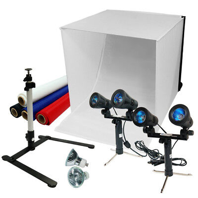"""24"""" Photography Light Box Tent Kit Double Head Light Stand Continuous Light Kit"""