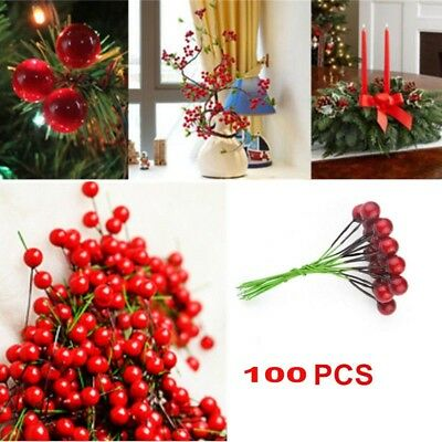 Artificial 100x Red Berry Pick Holly Branch Wreath Craft Xmas Home Party Decor