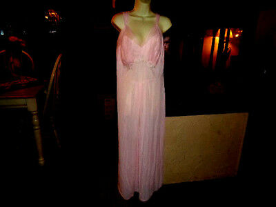 Vtg  Large / Extra Large Pink r Chiffon Grecian Nightgown  HOLLYWOOD  MUST SEE!!