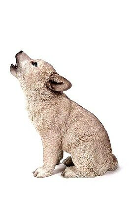 Wolf Cub Howling Life Size Life Like Home Garden Decor Figurine Wolves Free Ship
