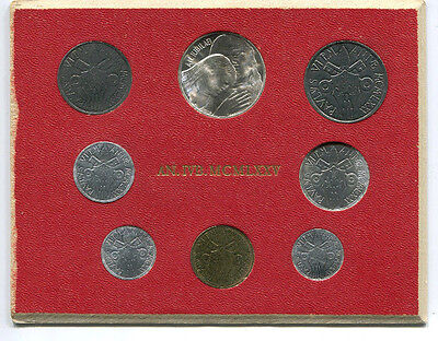 1975 Vatican Uncirculated 8 Coin Set w/ Silver 500 Lire Coin Pope Paul VI