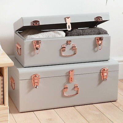 Vintage Set Of 2 Metal Bedroom Storage Chests Trunks Boxes Grey Rose Gold Cases