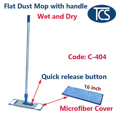 New Flat Dust Mop Floor Cleaner base removable Microfiber Pads and handle