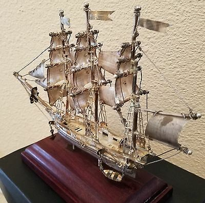 """Vintage Sterling Silver Model Ship - Hand Made in Mexico 8.5"""" X 5.5"""" inches"""