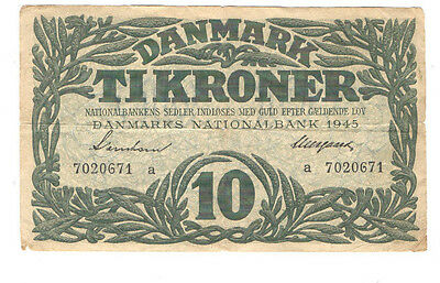 1945 Denmark 10 Kroner Note Pick # 37a Fine Condition