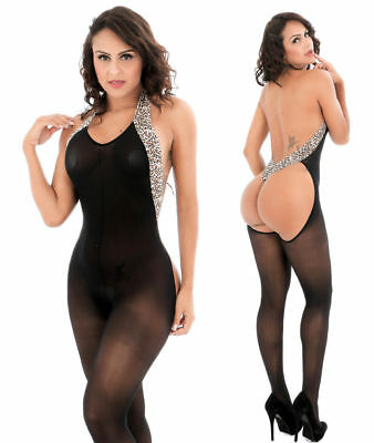 Sexy Lingerie Erotic Mesh Leopard Halter Stretch Backless Body Catsuit Stocking