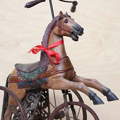 VINTAGE WOODEN TRICYCLE HORSE ON WHEELS JUMPING HORSE w PEDALS