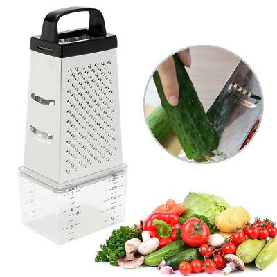 Grater Box 4 Sided Multi Funtion Cheese Vegetable With Container Stainless Steel