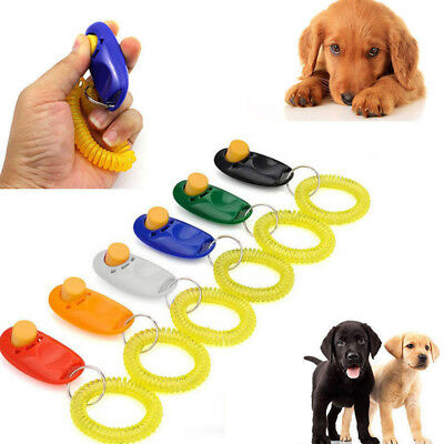 Portable Button Clicker With Wrist Band For Pets Dog Cat Clicker Training Guide