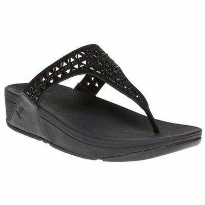 4834b8588be3d New WOMENS FITFLOP BLACK LIQUID CARMEL TOE POST SUEDE SANDALS FLIP FLOPS