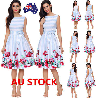 Women Vintage Floral Flamingo Sleeveless Swing Dress Rockabilly Cocktail Party