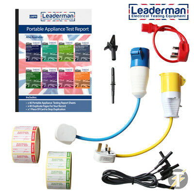 PAT Testing Accessory Starter Kit Labels, Report Book, Adaptors & Lead set KIT3R