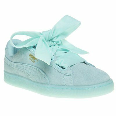 WOMENS PUMA BLUE Suede Heart Reset Sneakers Court Lace Up -  60.95 ... ad6b2b50b