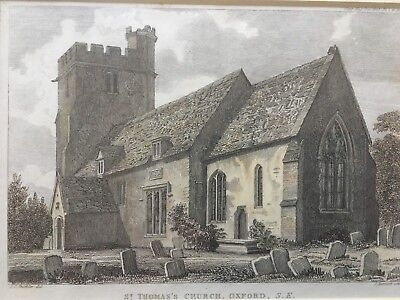 1818 Antique Print; St Thomas's Church, Osney, Oxford, by Buckler