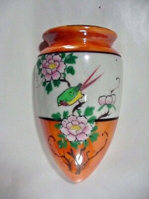 Hand Painted, Japan Wall Pocket Vase, Bird & Flowers Lusterware