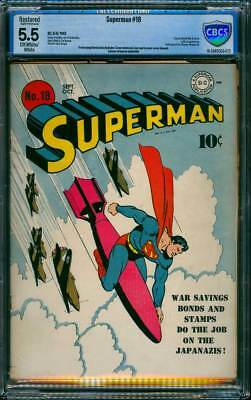 Superman # 18  Classic WW II Cover !  CBCS 5.5  scarce Golden Age book !