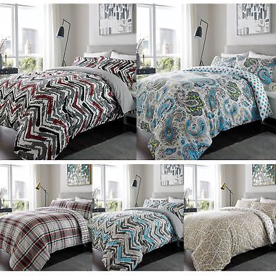 100% Brushed Cotton Flannel Duvet Cover Pillow Bedding Single Double King Size