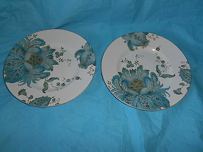 4pc 222 FIFTH Eliza Teal Dinnerware Salad Plates Gold Accents Peacock & 222 FIFTH Eliza Teal Salad Plates 4 NEW 8 3/4\