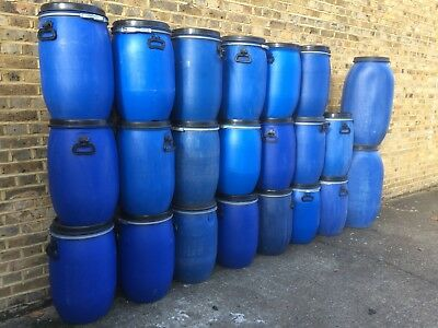 60L Blue Plastic Open Top Keg Barrel Drum Storage Shipping Canoe Container
