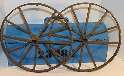 Pair Of Vintage Antique Industrial Cart Wheels Cast Iron Metal