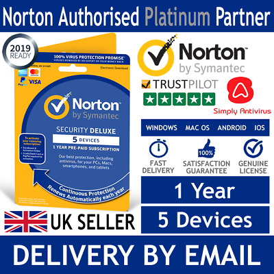 Norton Security Deluxe 2018 - 5 Devices - 1 Year - 1 User (Email Product Key)
