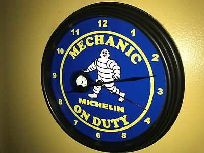 Michelin Man Tires Gas Service Station Mechanic Garage Wall Clock Sign