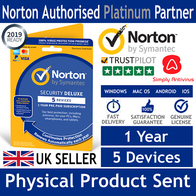 Norton Security Deluxe 2019 5 Multi Devices 1 Year  -  Physical Delivery by Post