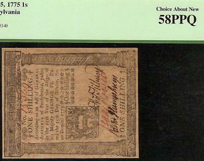 Oct 25,1775 Pennsylvania Colonial Currency Shilling Note Paper Money Pcgs 58 Ppq