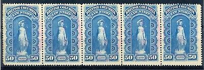 Weeda BCL3 BC Law Sound used strip of 5, 50c blue 1879-90 First Series CV $62.50