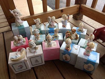 Precious Moments & Cherished Teddies Ornament Figures With Boxes LOT Christmas
