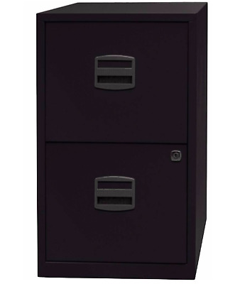 2 DRAWER BISLEY STEEL FILING CABINET / BLACK / A4 /  NEW + FREE 24h DEL