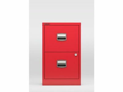 2 DRAWER BISLEY STEEL FILING CABINET / RED  A4 /  NEW + FREE 24h DEL