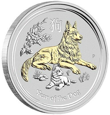 2018 $1 Year of the Dog - 1oz Silver Gilded Coin in Display Case - Perth Mint