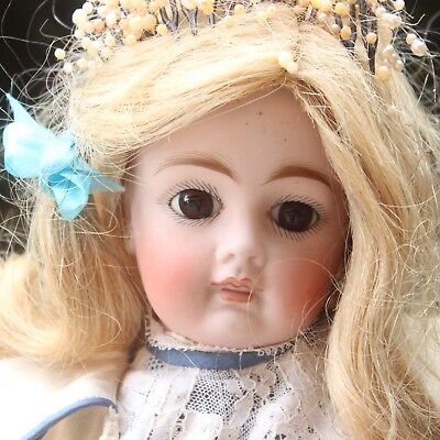 """19.3"""" ANTIQUE SONNEBERG BISQUE Doll 1890s CLOSED MOUTH BELTON DOLL"""