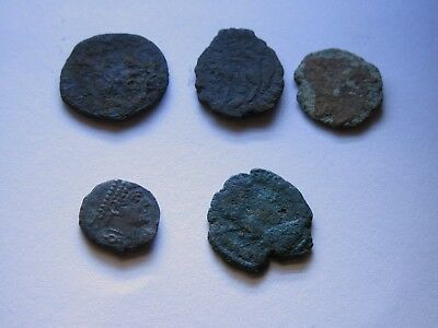 Genuine Roman Coin Collection Joblot x5 Uncleaned Unresearched Good Grade Lot#27
