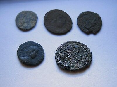 Genuine Roman Coin Collection Joblot x5 Uncleaned Unresearched Good Grade Lot#35
