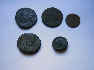 Genuine Roman Coin Collection Joblot x5 Uncleaned Unresearched Good Grade Lot#36