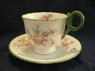 Sutherland Bone China Tea Cup And Saucer Pink And Yellow Flowers Fancy Handle