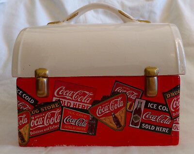 coca cola lunch box style cookie jar by Gibson-Vintage Ceramic