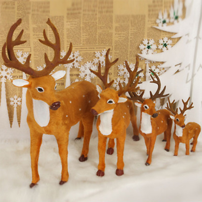 2PCS Deer Christmas Ornament Reindeer Xmas Cute Doll Decor Home Party Decoration