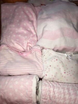 Baby Girl Lot 2 Changing Pad Cover, 2 Boutique Burp Cloths, And Two Gowns