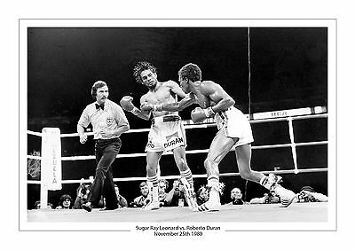 Sugar Ray Leonard vs.Roberto Duran A4 Aufdruck Foto Box November 25. 1980 2